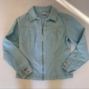 CAbi Jean Zip Up Jacket Light Blue Sz S